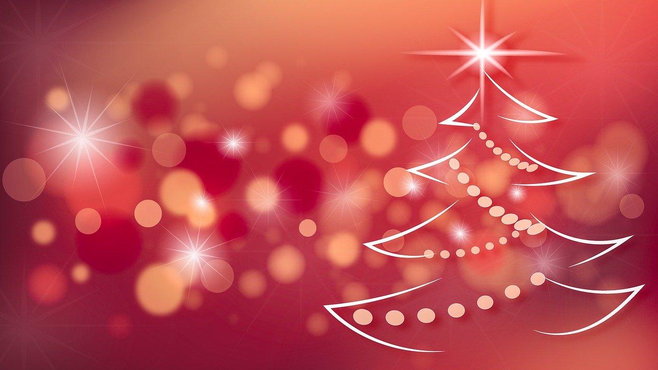 Weihnachtskarte mit rotem Hintergrund und weissen abstrakten Weihnachtsbaum (Bild von monicore @ pixabay.com)